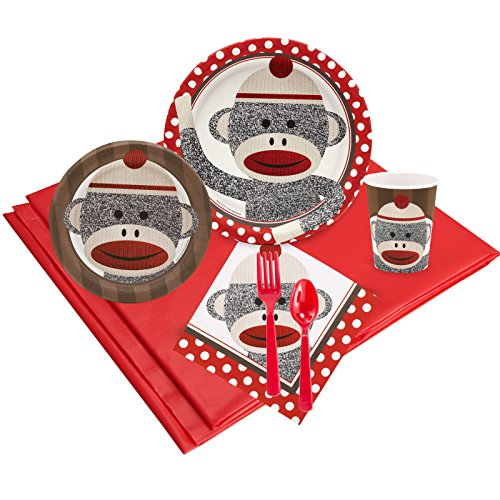 (Sock Monkey Red Childrens Birthday Party Supplies - Tableware Party Pack)