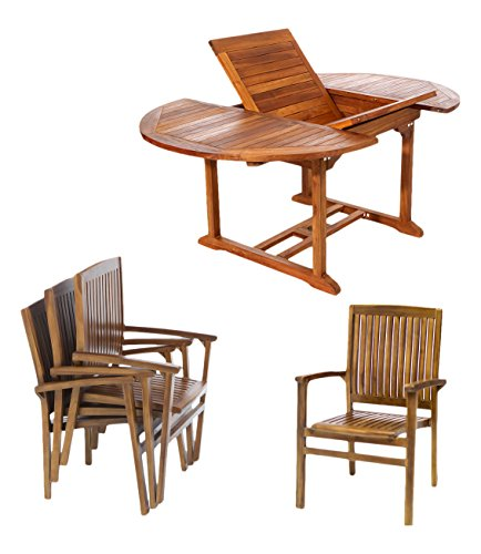 All Things Cedar TE70-24-R Teak Oval Extension Patio Table with Stacking Arm Chairs And Red Cushions, 5-Piece -