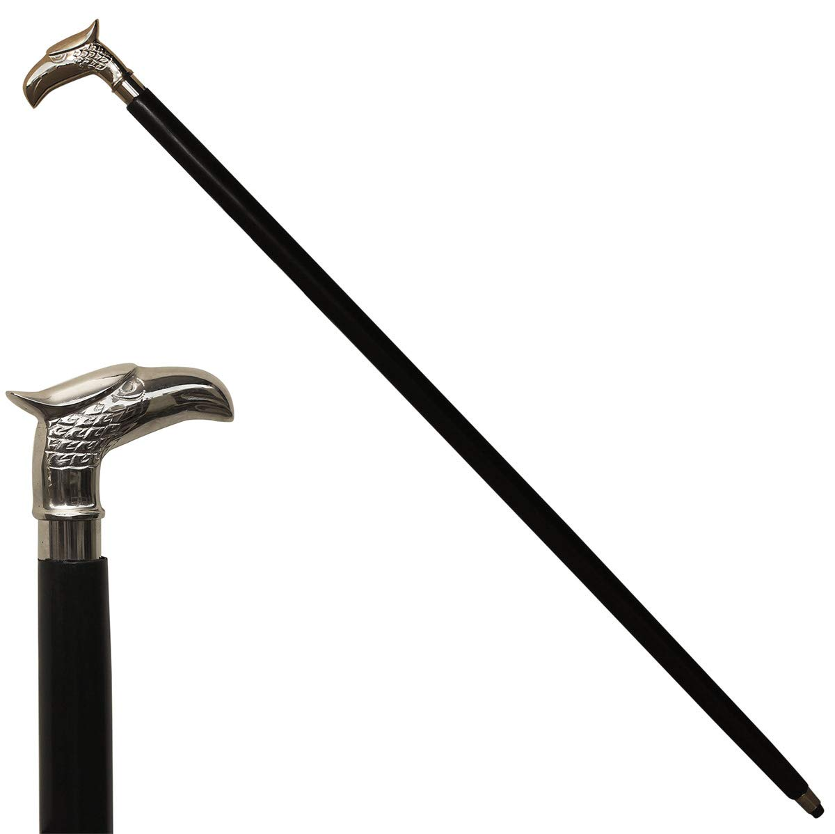 Crafkart Offer on Eagle Walking Stick - Decorative Cane Walking Stick for Men and Women - Wooden Canes and Walking Sticks with Metal Brass Silver Handle - Symbol of Power and Strength