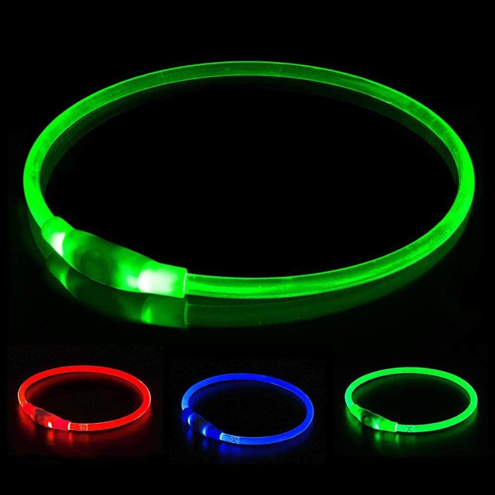 Light up Dog Collar for Small Medium Large Dogs green Homeculb LED Dog Collar USB Rechargeable,Ultra Bright Colours