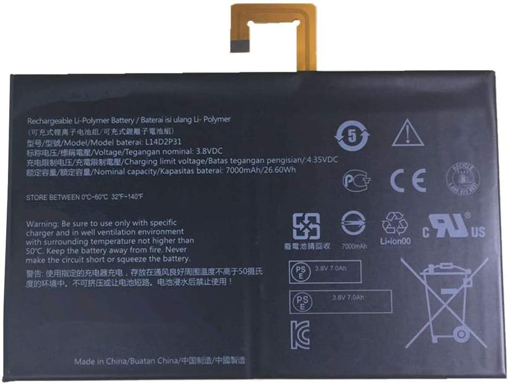 YNYNEW Replacement Battery Compatible with L14D2P31 Lenovo Tab 2 A7600-F A10-70F Tab2 A10-70 A10-70L Tablet TB2-X30 TB2-X30M 3.8V 7000mAh 26.6Wh