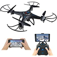 RC Quadcopter UAV with FPV WiFi Camera and HD Live Video, Kingtoys 6-Axis Gyro FPV 360° Flips Altitude Hold, 2.4Ghz 4CH Headless / IOC Drone UFO