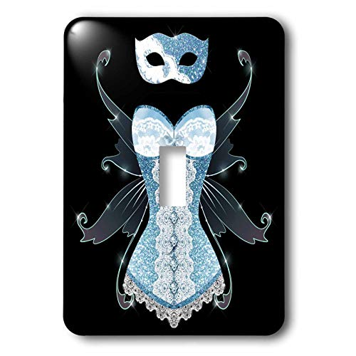 - 3dRose Anne Marie Baugh - Design - Blue Image Of Glitter Corset With Fairy Wings and Masquerade Mask - double toggle switch (lsp_316276_2)