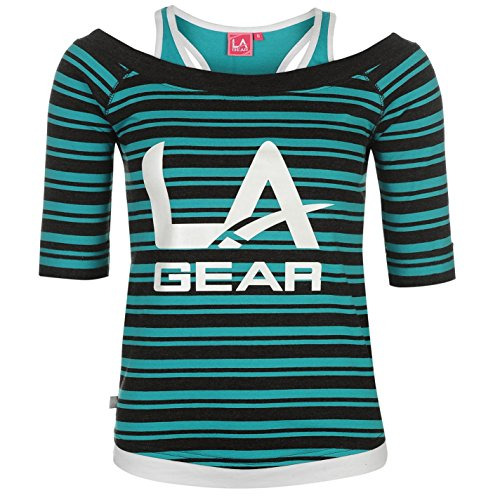 Striped Mock Layer Top (LA Gear Womens Mock Layer Tee Shirt Top Blouse Short Sleeve Summer Casual Stripe 10 (S))