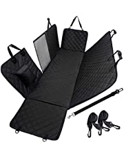 """Dog Car Seat Cover Waterproof Pet Back Seat Cover Car Travel Hammock with Zippered Mesh Visual Window & Seatbelt Opening Nonslip Bench Protector for Cars Trucks SUVs - (Black, 54"""" x 58"""")"""