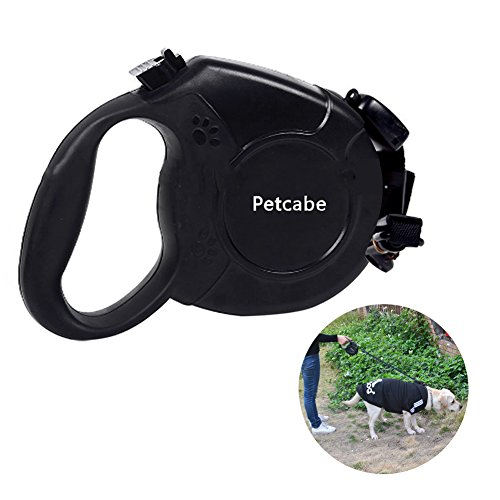 Petcabe 8M Retractable Dog Leash Automatic Extending Pet Walking Leads For Medium Large Dogs (8M, Black)