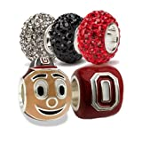 Ohio State Charms | Ohio State Brutus Buckeye and Scarlet Block O with Crystal Charms | Ohio State Gifts | Officially Licensed Ohio State Jewelry | OSU Gifts | OSU Charms | Stainless Steel