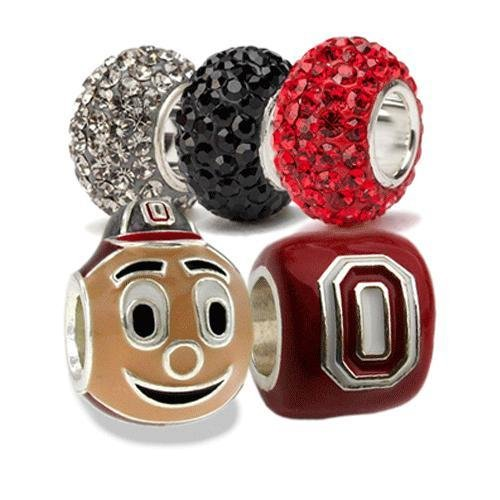Ohio State Charms | Ohio State Brutus Buckeye and Scarlet Block O with Crystal Charms | Ohio State Gifts | Officially Licensed Ohio State Jewelry | OSU Gifts | OSU Charms | Stainless Steel (Ohio State Buckeyes Crystal)