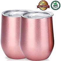12oz/340ML Wine Tumbler - Vacuum Double Wall Insulated Stemless Water Bottel 18/8 Stainless Steel Wine Glasses for Cold & Hot Drink, Wine, Cocktail, Coffee, Champagne, Outdoor Drinkware Pack of 2