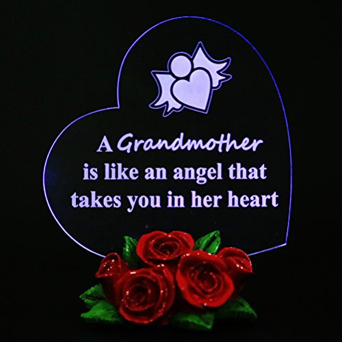Grandmother Heart Shaped LED Gift Cake Toppers Gifts for Grandma