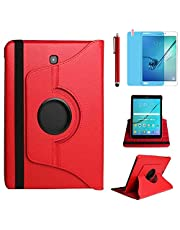 Case for Samsung Galaxy Tab S2 8.0 inch (SM-T710 SM-T713 SM-T715),360 Degree Rotating Stand Case Full Protective Smart Cover,Stylus Pen,Screen Film (Red)