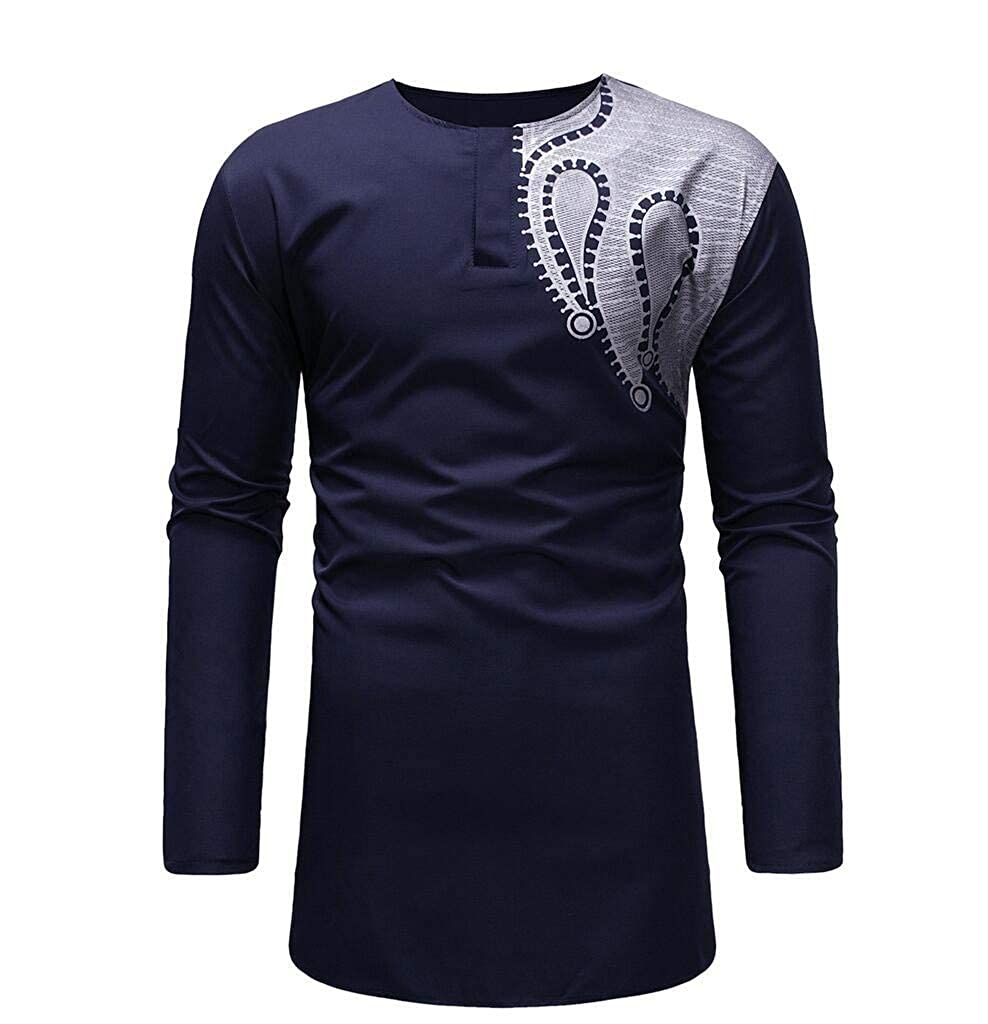 Mens Tee Plus Size Casual Floral African Print Loose Top