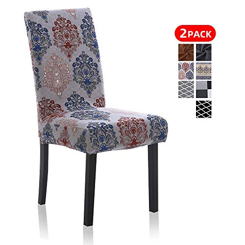 2 Pack Chair Slipcovers for Dining Room, Washable Spandex Dining Chair Covers Sets for Kitchen Home Room Table, Charm of England