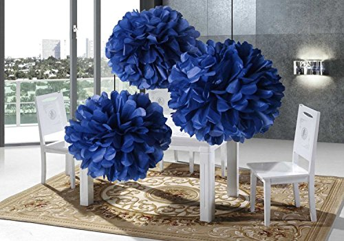 Blue Basket Garland - 8pcs NaVy Blue Tissue Paper Pom-poms Cream Mint Peach Party Decorations for Weddings, Birthday Parties and Baby Showers (NaVy Blue)