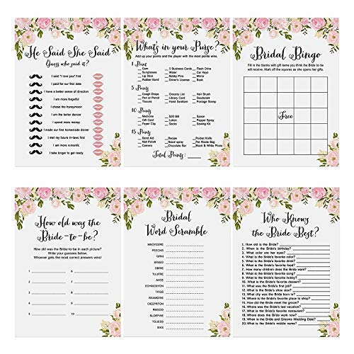 Flower Bridal Shower Games, 6 Design | 30 Each Sheet | Wedding Shower Games Cards Include Bridal Shower Bingo- He said, She Said and Also Perfect to Suit Guest's Rose Bridal Shower Games Pack