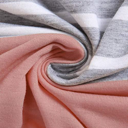 Rayure Splicing Femme Col Rond Bringbring Hauts Chemisier Manche Longue T Shirts Chemise Rose wEgExTq6zf