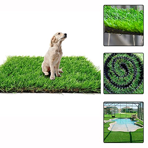 Wet Grass (Artificial Grass Rug Synthetic Turf Fake Carpet Mat Easy Care Rubber Backed with Drainage Holes Lawn Area Pet Pad Mat Garden Doormat Perfect for Indoor Outdoor Decoration, 1 3/8