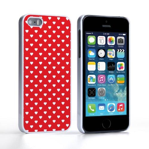 Caseflex iPhone 5 / 5S Hülle Rot / Weiß Nette Herzen Valentinstag Hart Hybride Schutzhülle