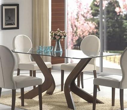 Amazoncom San Vicente Beveled Glass Top Walnut Brown Pedestal - Glass top pedestal dining table sets