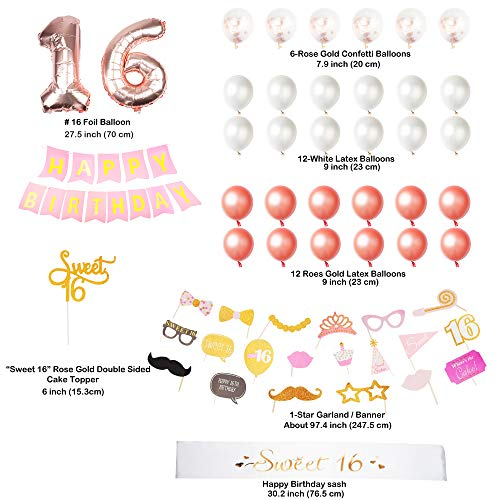 54 Pack Bonus - Ultimate Sweet 16 Party Bundle | Cake Topper | Birthday Sash | Birthday Banner | Photo Booth Props | 100% Satisfaction Guaranteed