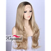 K'ryssma Ombre Blonde Synthetic Lace Front Wigs for Women Natural Looking Glueless Long Wavy 2 Tones Dark Roots to Blonde Wig Heat Resistant 24 Inches (E0204)