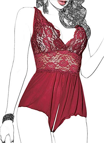Women Lingerie Sheer Lace Mini Babydoll Teddy Sexy Bodysuit Backless Sleepwear (M, Wine red)