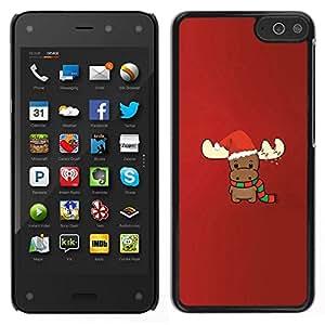 EJOY---Cubierta de la caja de protección para la piel dura ** Amazon Fire Phone ** --invierno Reno de Navidad roja linda