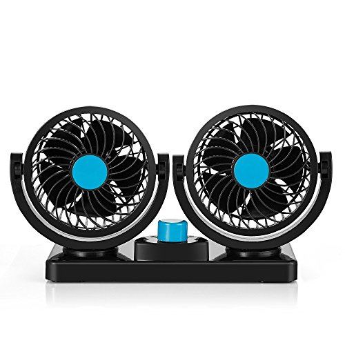 Abovetek 12v dc electric car fan rotatable 2 speed dual for 12v dc table fan price