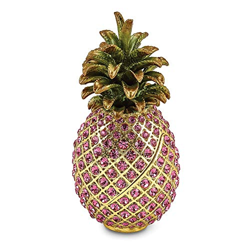 Jere Luxury Giftware Bejeweled Friendship & Hospitality Pink Pineapple, Pewter with Enamel Collectible Trinket Box with Matching Pendant Necklace