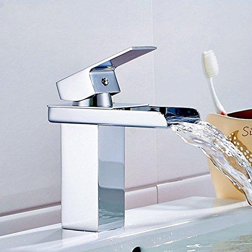 NewBorn Faucet Wasserhähne Warmes und Kaltes Wasser Guter Qualität die Modernen Bäder Sind voll Messing Chrom Einzigen Griff Einzelne Bohrung Square Wasserfall Leitungswasser
