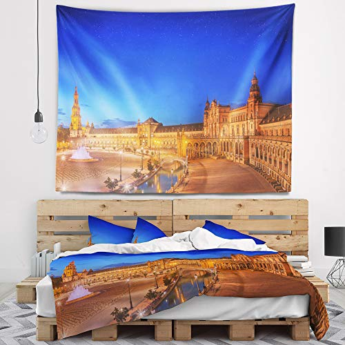 Designart TAP15672-39-32 'View of Spain Square at Sunset' Cityscape Tapestry Blanket Décor Wall Art for Home and Office, Medium: 39 in. x 32 in, Created on Lightweight Polyester Fabric by Designart
