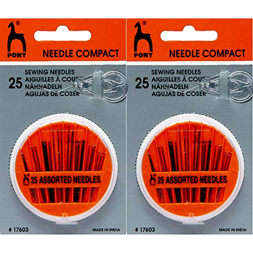 Pony Assorted Hand Sewing Needles (2 Pack) with Compact Mending Sew Case for Hand Embroidery Threading Mending Quilt Stitching Knitting Craft. Perfect for Sewing Fabrics with Ease