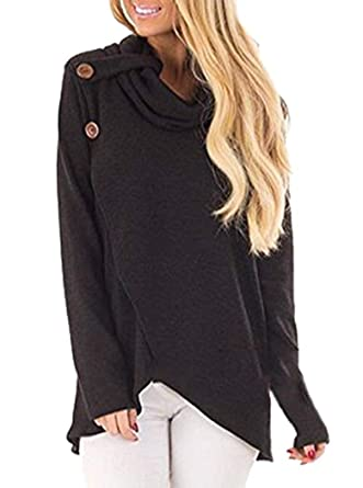 e6b3fc0bbd FaroDor Women Casual Long Sleeve Casual Cowl Neck Solid Fall Winter  Pullover Sweater Black Small