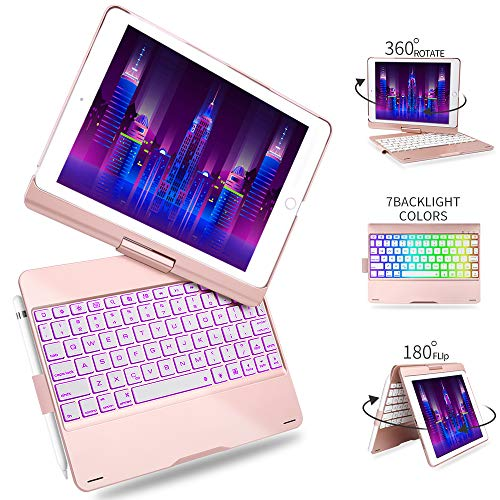 Keyboard Pencil (Keyboard Case for iPad 9.7 2018 2017-iPad Pro 9.7-iPad Air 2 & 1-Boriyuan 7 Color Backlit Bluetooth Keyboard Case Folio Smart Cover +360 Rotatable + Pencil Holder for iPad 9.7 Case (Rose Gold))