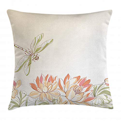 (Ambesonne Dragonfly Throw Pillow Cushion Cover, Lotus Flower Field with Dragonfly Flying Oriental Blooms Artful Print, Decorative Square Accent Pillow Case, 20 X 20 Inches, Cream Peach Coral)