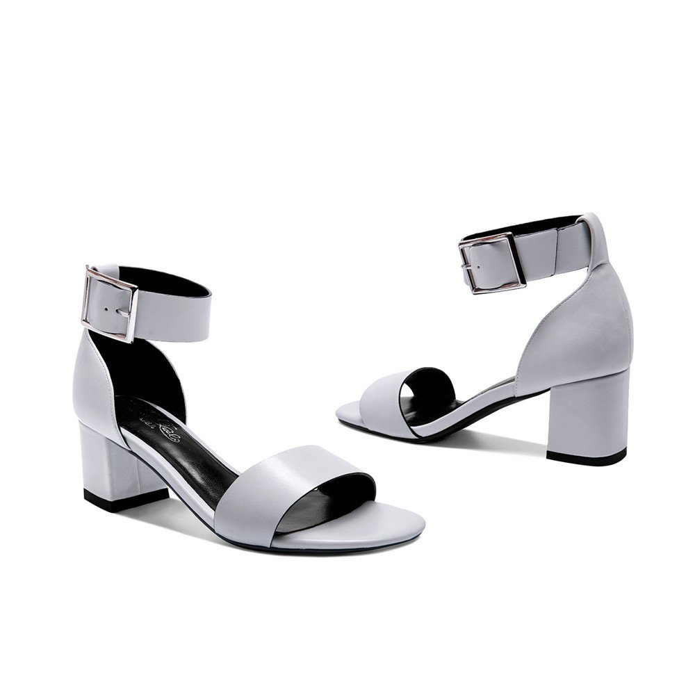 XZGC Sommer Schnalle Sandalen Frauen Dick mit High-Heeled Hohl Einfach Vierkant Open Toe Einfach Hohl Schuhe Blau Grau 5170dc