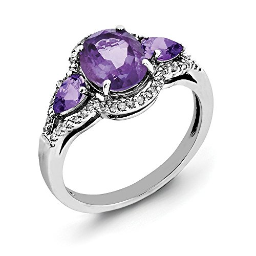 (925 Sterling Silver Oval Purple Amethyst Diamond Band Ring Size 7.00 Gemstone Fine Jewelry Gifts For Women For Her)