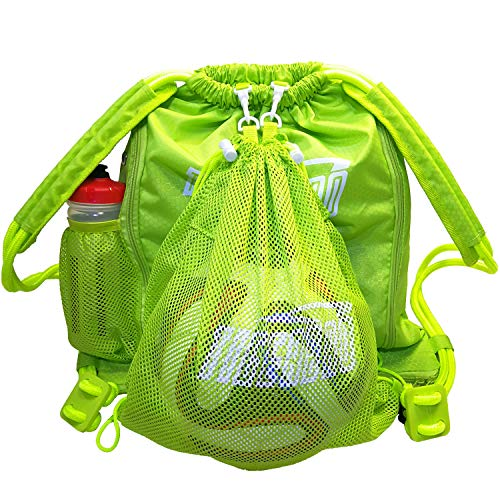 Tigerbro Soccer Backpack Basketball Sackpack with Detachable Mesh Sack Green Football Gear Bag with Nylon Ball Holder Shoe Compartment Waterproof for Boys Girls Women Men