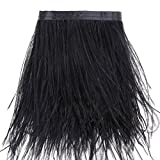 2 Yards Ostrich Feathers Trims Fringe - for Dress Sewing Crafts Costumes Decoration (Black)