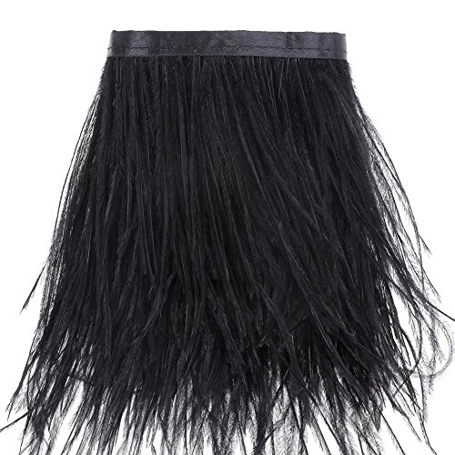 Ostrich Feathers Trims Fringe with Satin Ribbon Tape - for Dress Sewing Crafts Costumes Decoration Pack of 2 Yards(Black) -