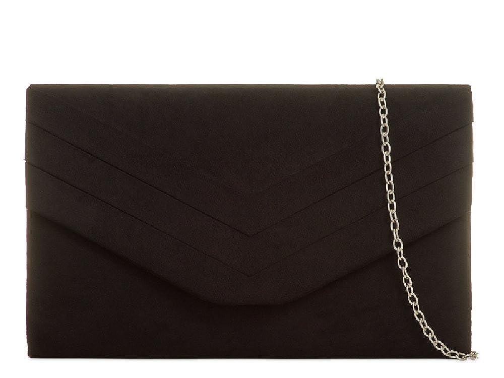 e176dc7f843 Ladies Faux Suede Envelope Clutch Bag - Women's Pleated Evening Bag Handbag  Purse KL809 (Medium, Black): Amazon.co.uk: Shoes & Bags