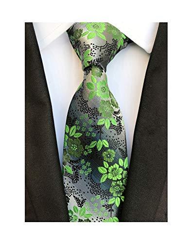 Men's Green Grey Textured Party Silk Jacquard Woven Self Ties Birthday Presents