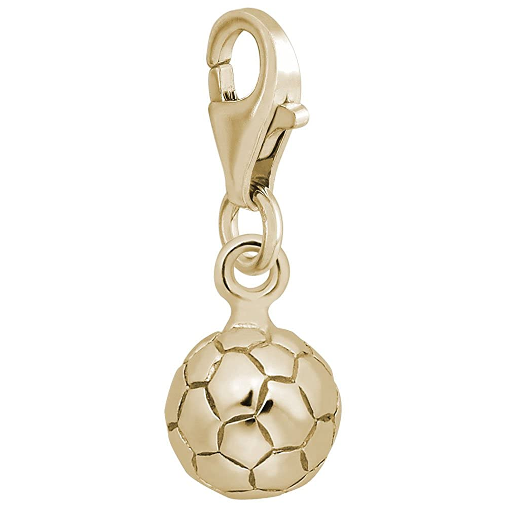 10k Yellow Gold Soccer Ball Charm With Lobster Claw Clasp Charms for Bracelets and Necklaces