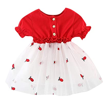 3f311cb59043 Amazon.com  Infant Baby Girl Tops Tulle Dresses - Newborn Kids Cute ...