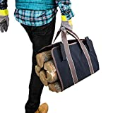 VVHOOY Firewood Log Carrier Bag, Collapsible Durable Canvas Soft Grip Handles Tote, for Groceries, Firewood, Fireplace Stove Handling Tool Accessories