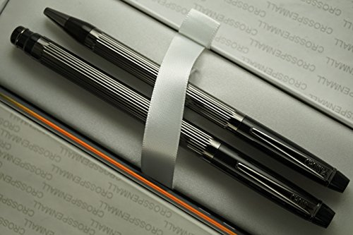 Ballpoint Refill Jumbo (Cross Made in USA Elite Art Deco Metropolis Jet Black , Polished and Ribbed Barrel Selectip Rollerball Pen and Ballpoint with Backup Jumbo and Ballpoint Refills)
