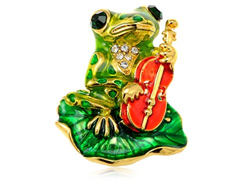 Alilang Golden Tone Emerald Green Colored Rhinestones Frog Toad Violin Leaf Brooch Pin (Frog Rhinestone)