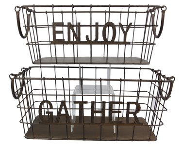 Heart of America Set of 2 Enjoy/Gather Wire Baskets