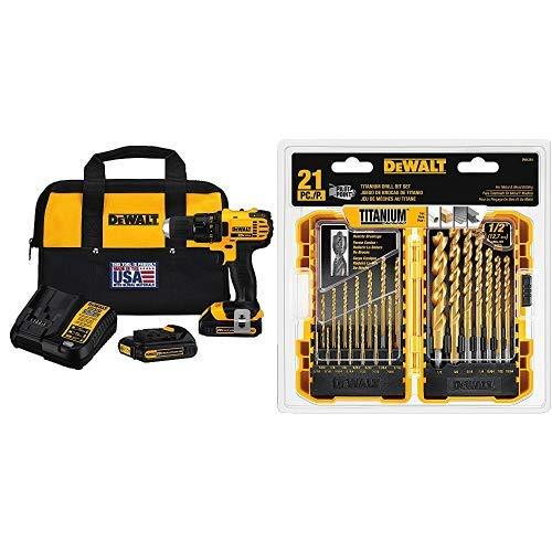 (DEWALT DCD780C2 20-Volt Max Li-Ion Compact 1.5 Ah Drill/Contractor bag with DEWALT DW1361 Titanium Pilot Point Drill Bit Set, 21-Piece )