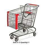 3 New Jumbo Metal Shopping Cart w/ Bottom Tray Gray Powder Coat (183-liter)